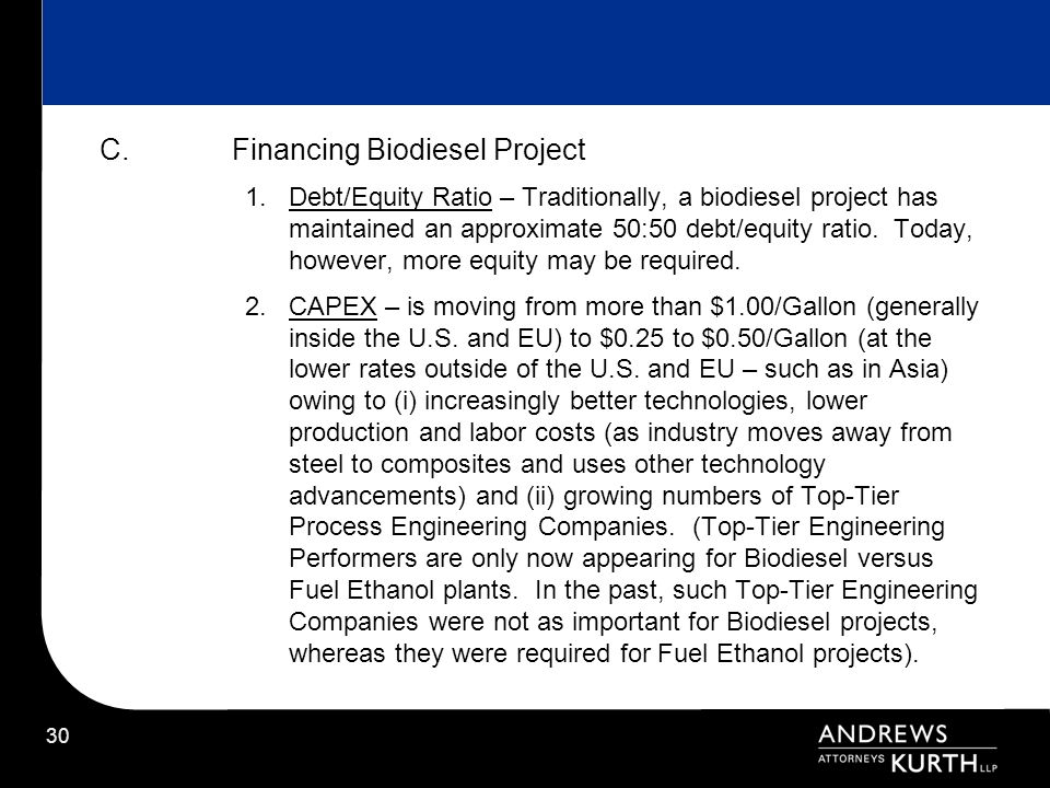 Financing Biodiesel Project