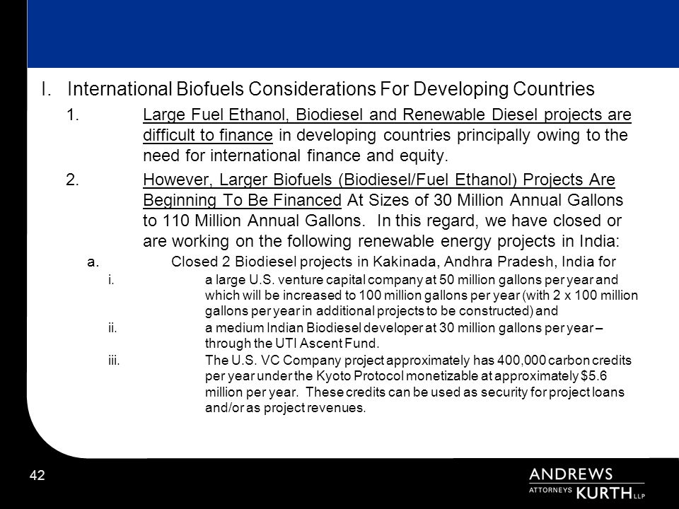 I. International Biofuels Considerations For Developing Countries