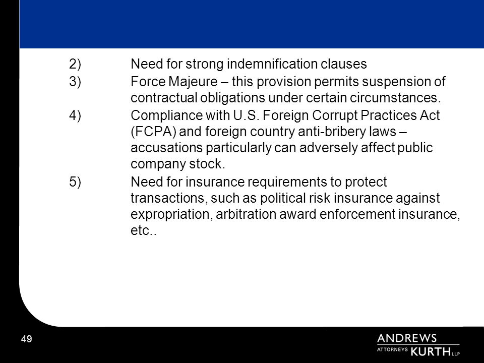Need for strong indemnification clauses