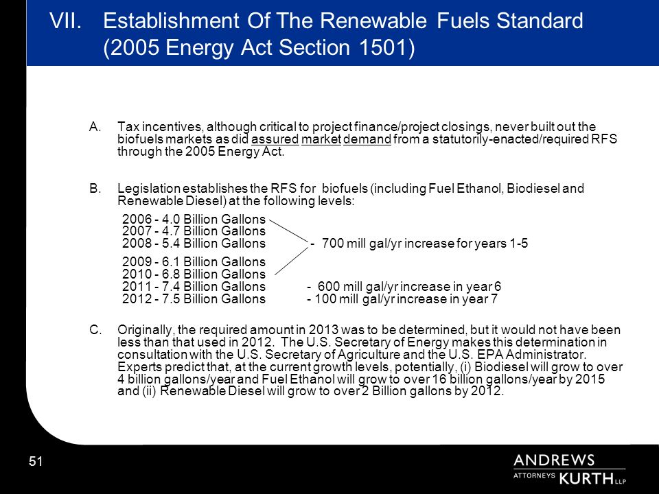 VII. Establishment Of The Renewable Fuels Standard (2005 Energy Act Section 1501)
