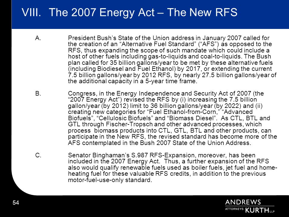 The 2007 Energy Act – The New RFS