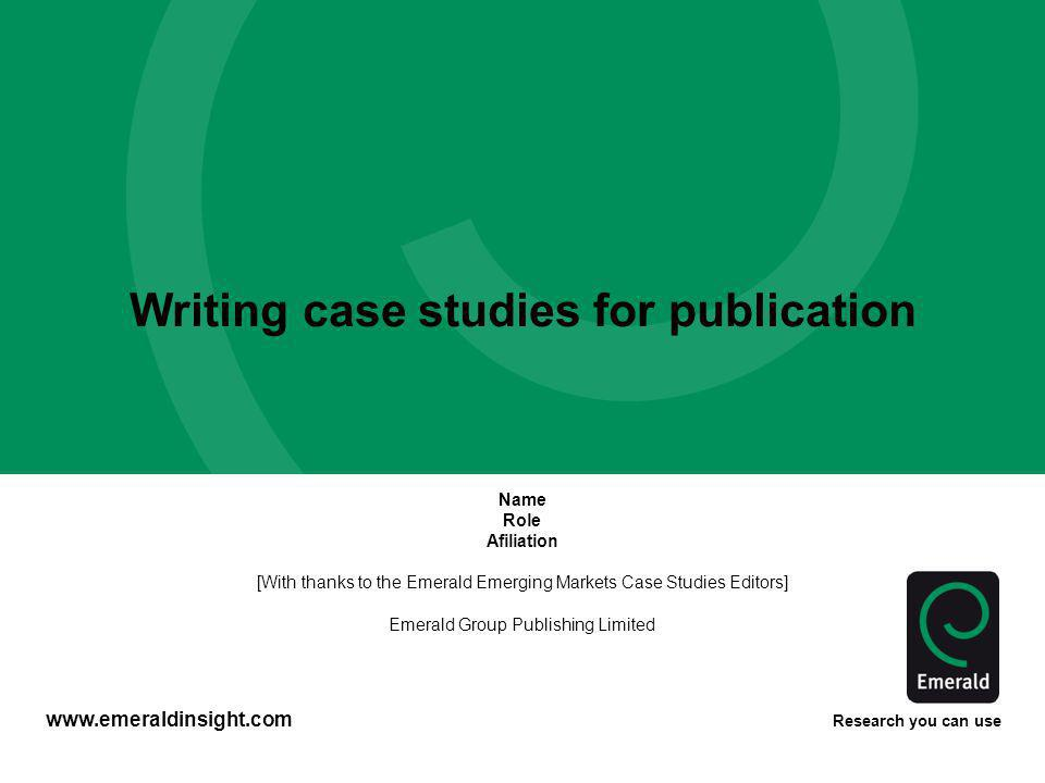 Writing case studies for publication