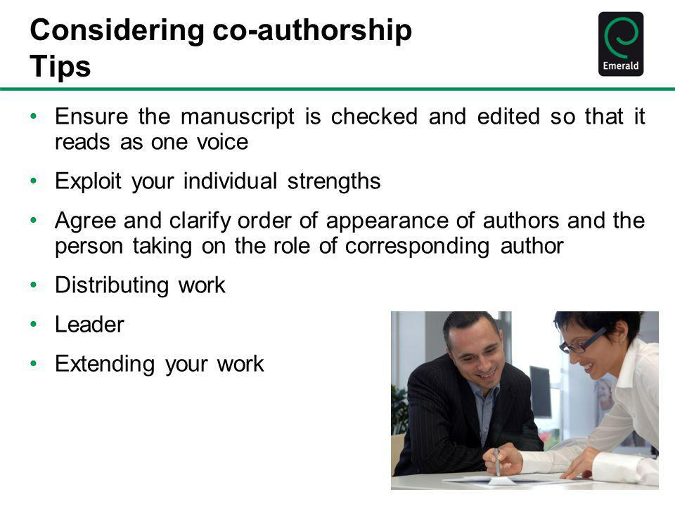 Considering co-authorship Tips