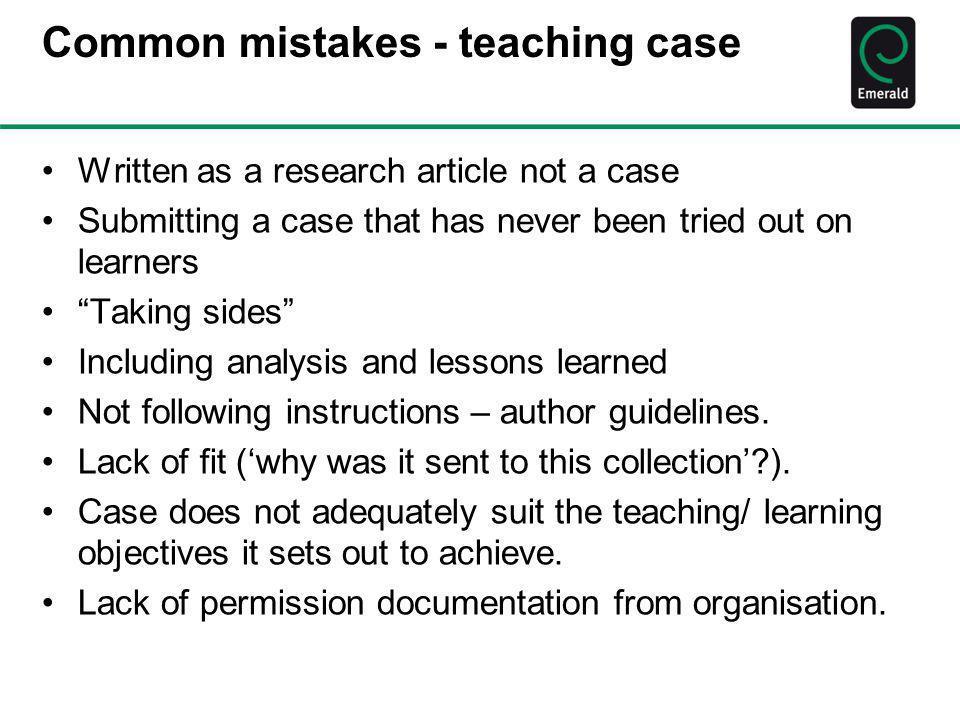 Common mistakes - teaching case