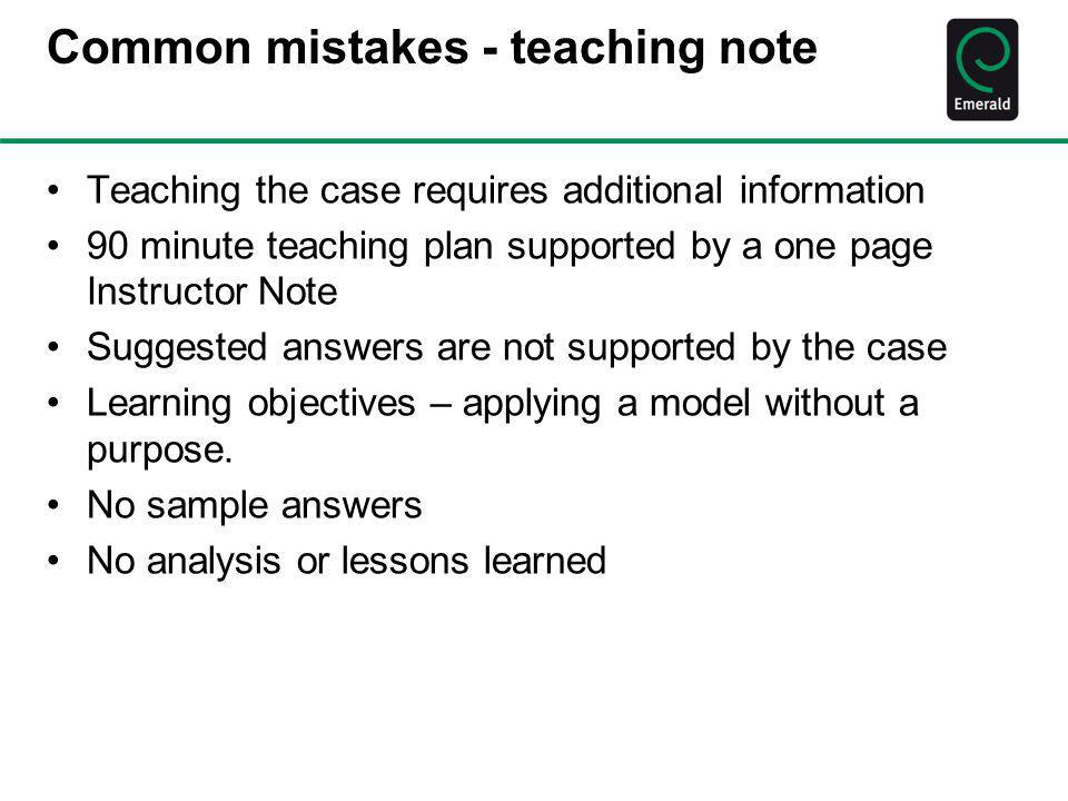 Common mistakes - teaching note