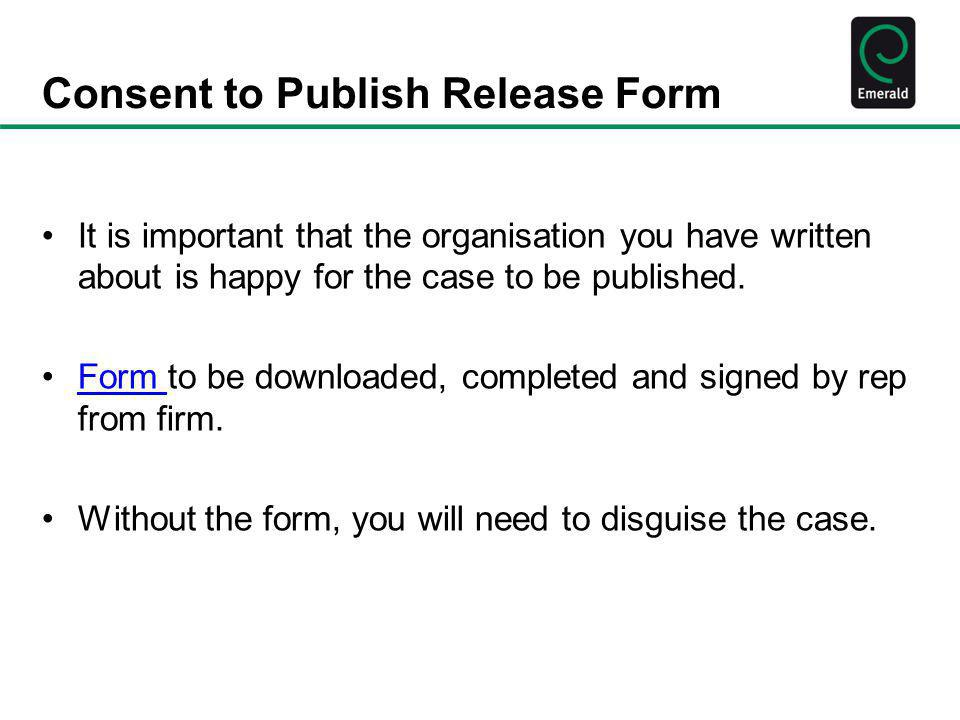 Consent to Publish Release Form