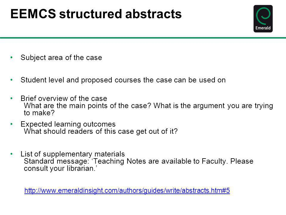 EEMCS structured abstracts