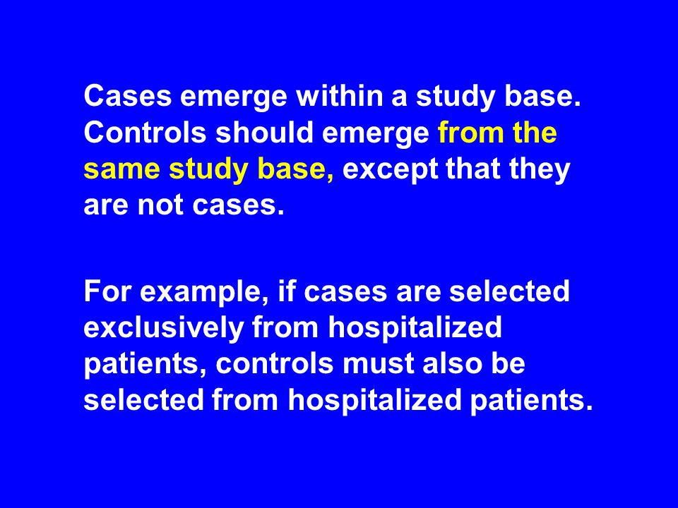 Cases emerge within a study base