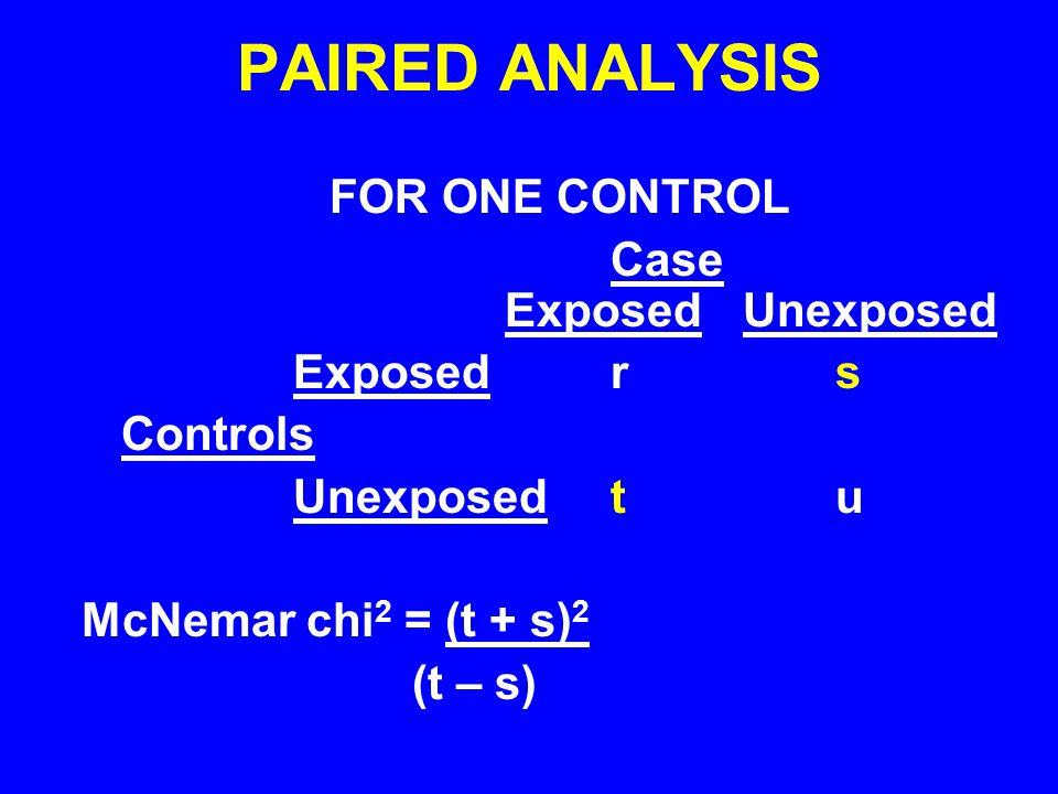 PAIRED ANALYSIS FOR ONE CONTROL Case Exposed Unexposed Exposed r s