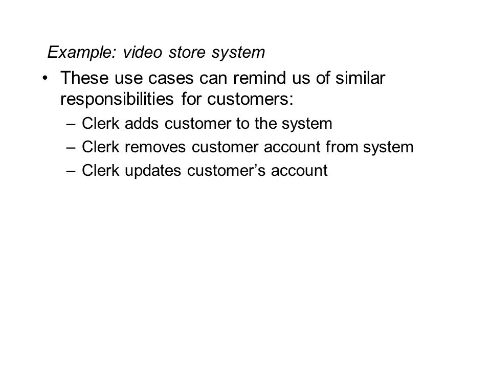 Example: video store system
