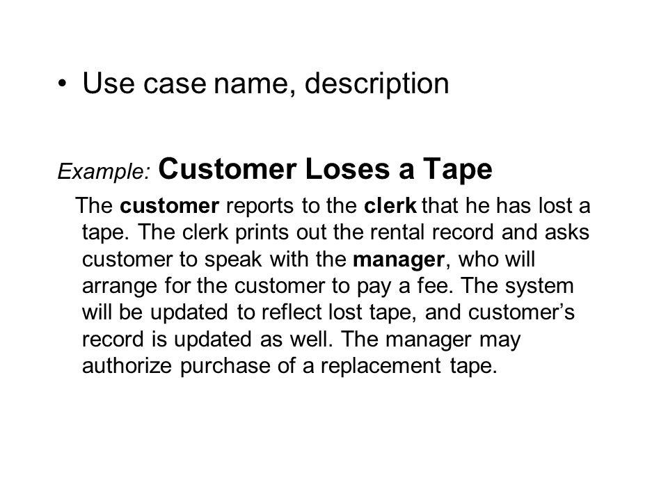 Use case name, description