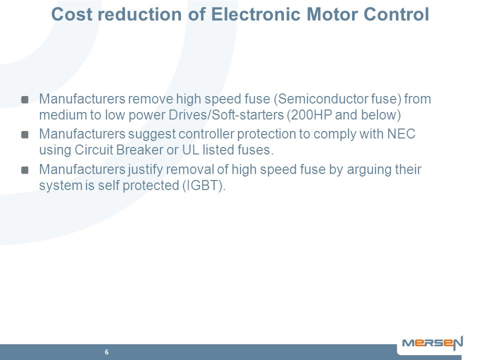 Cost reduction of Electronic Motor Control
