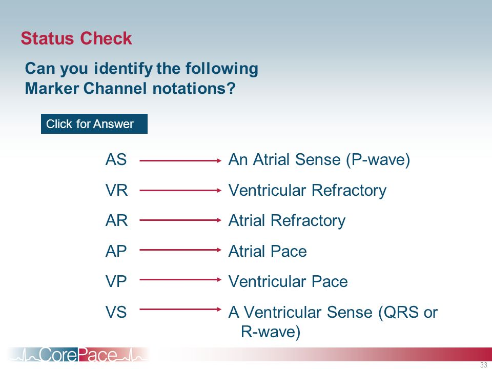 Status Check Can you identify the following Marker Channel notations