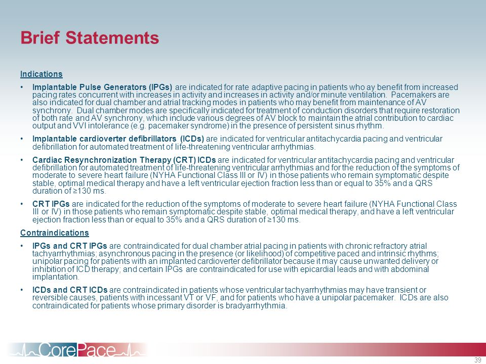 Brief Statements Indications
