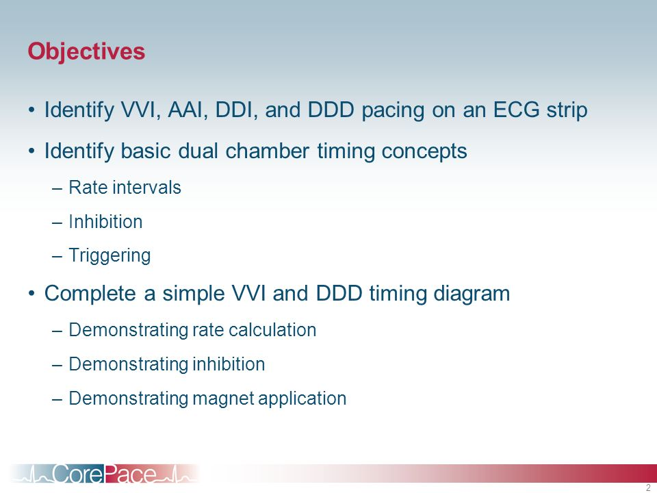 Objectives Identify VVI, AAI, DDI, and DDD pacing on an ECG strip
