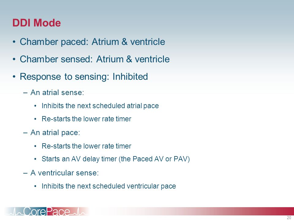 DDI Mode Chamber paced: Atrium & ventricle