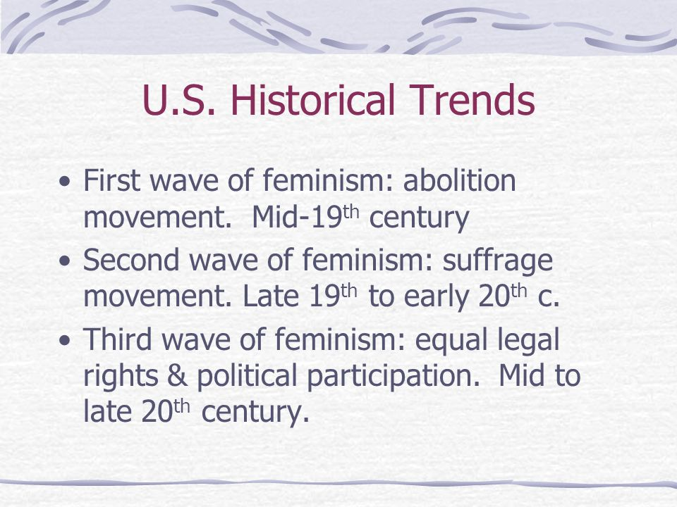 U.S. Historical Trends First wave of feminism: abolition movement. Mid-19th century.