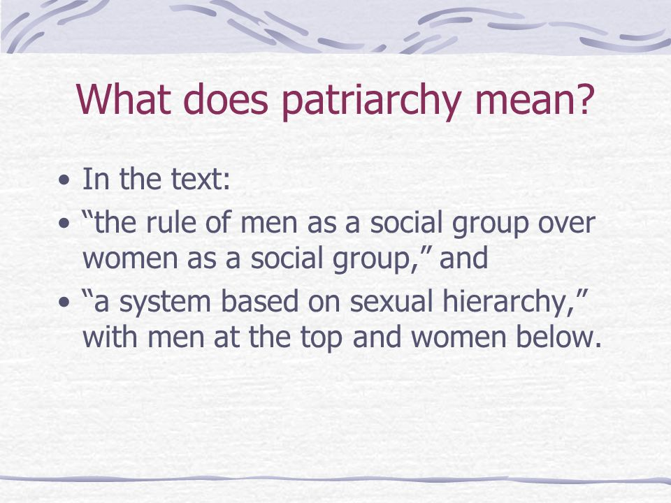 What does patriarchy mean