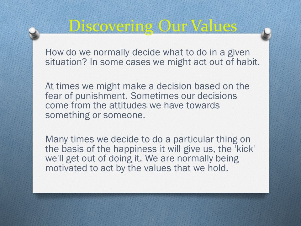 Discovering Our Values