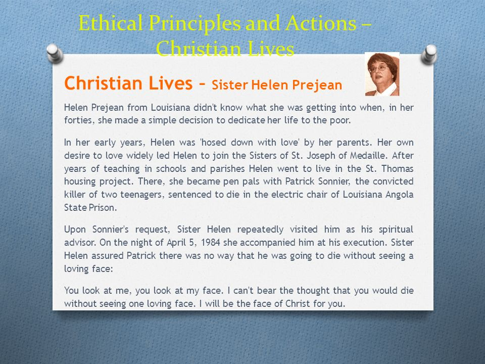 Ethical Principles and Actions – Christian Lives