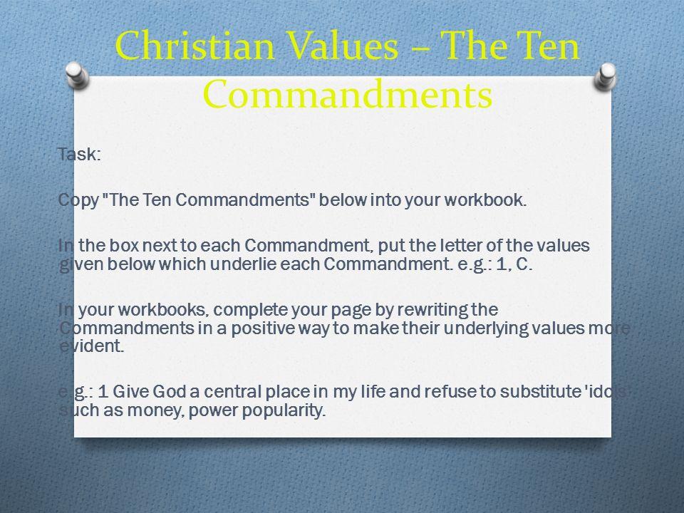 Christian Values – The Ten Commandments