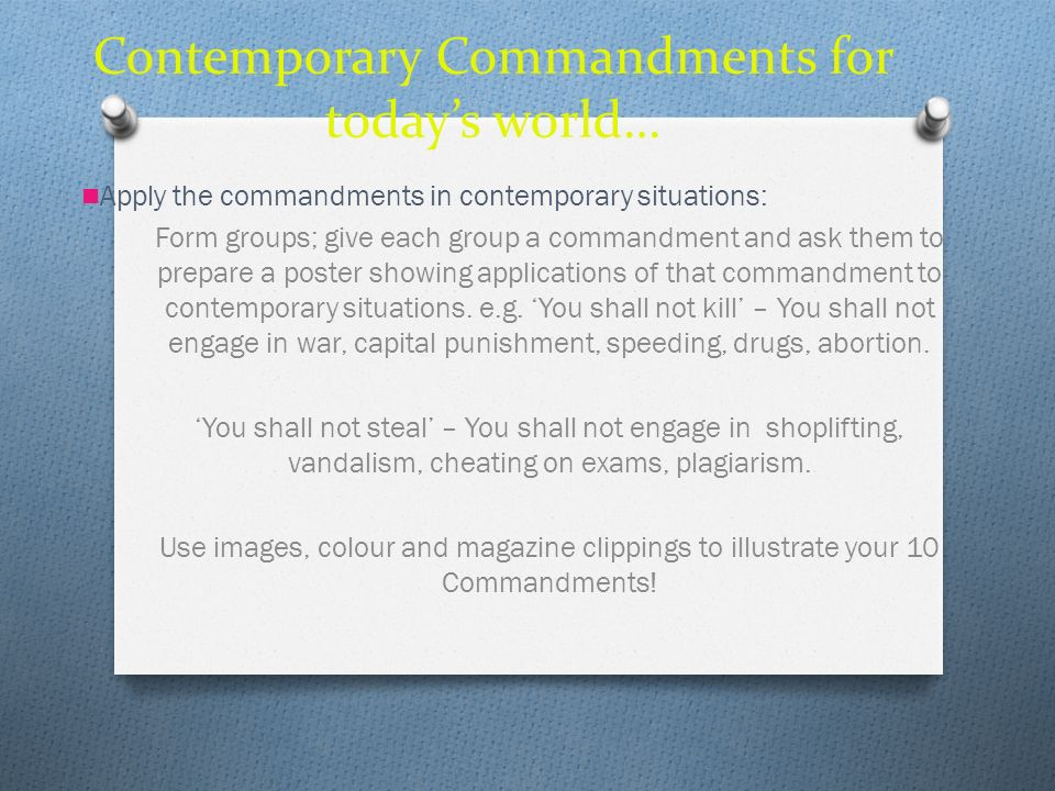 Contemporary Commandments for today's world…