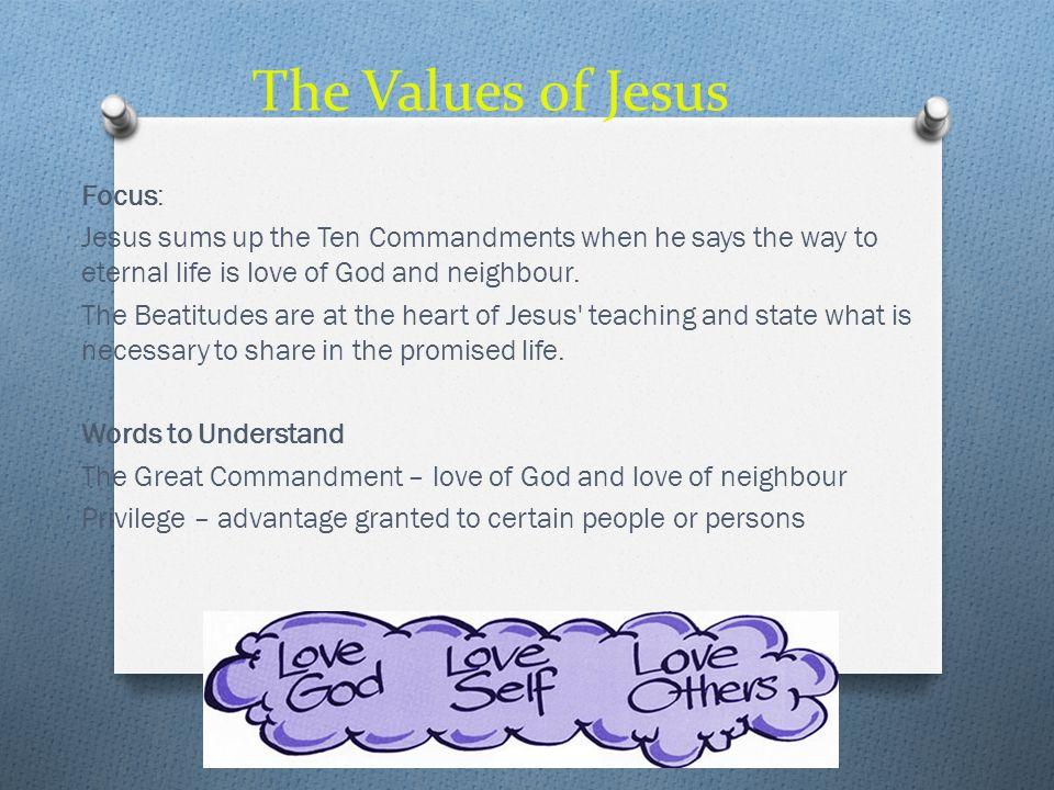 The Values of Jesus Focus: