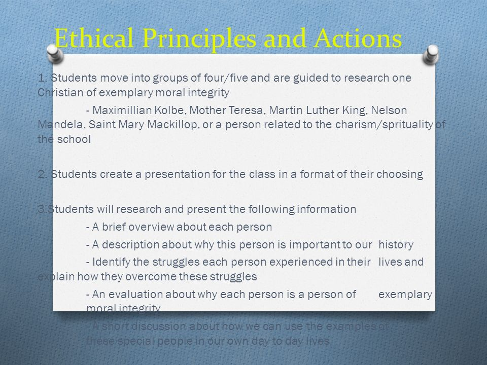 Ethical Principles and Actions