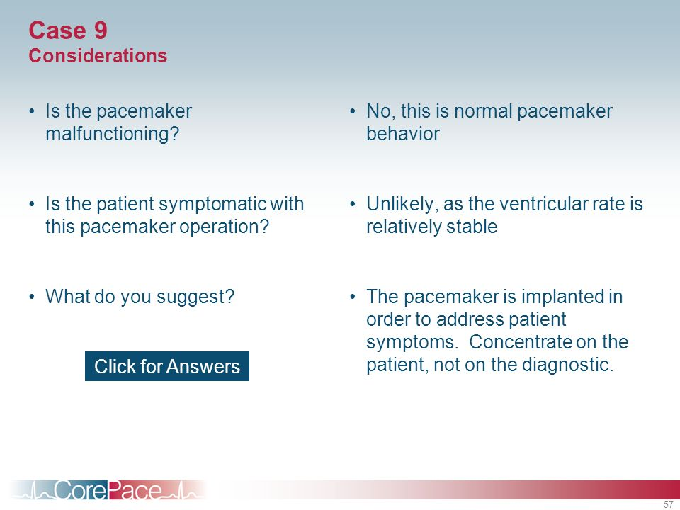 Case 9 Considerations Is the pacemaker malfunctioning