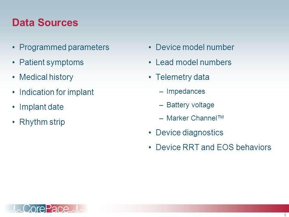 Data Sources Programmed parameters Patient symptoms Medical history