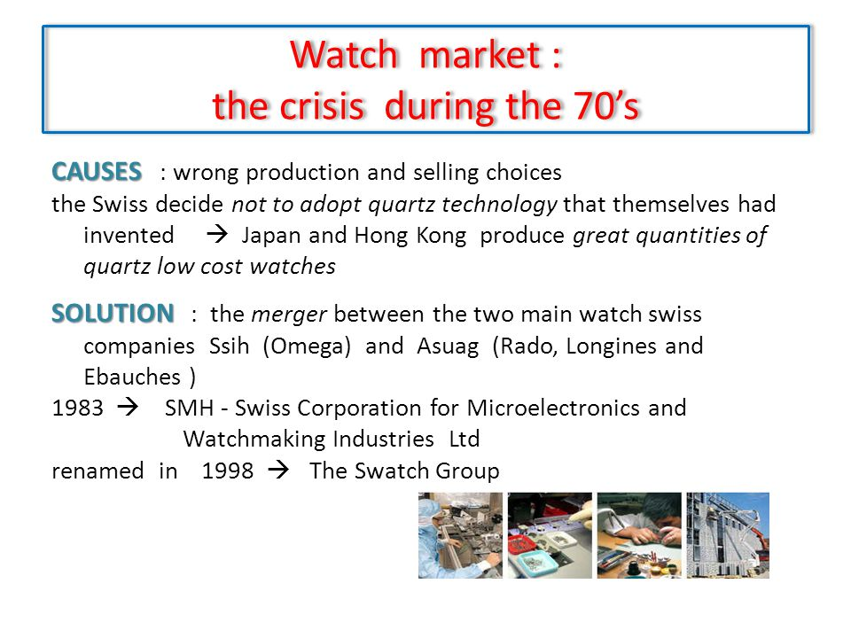 Watch market : the crisis during the 70's