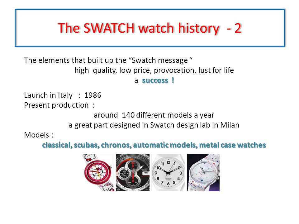 The SWATCH watch history - 2