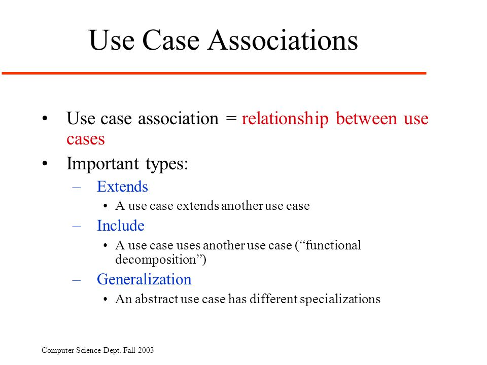 Use Case Associations Use case association = relationship between use cases. Important types: Extends.