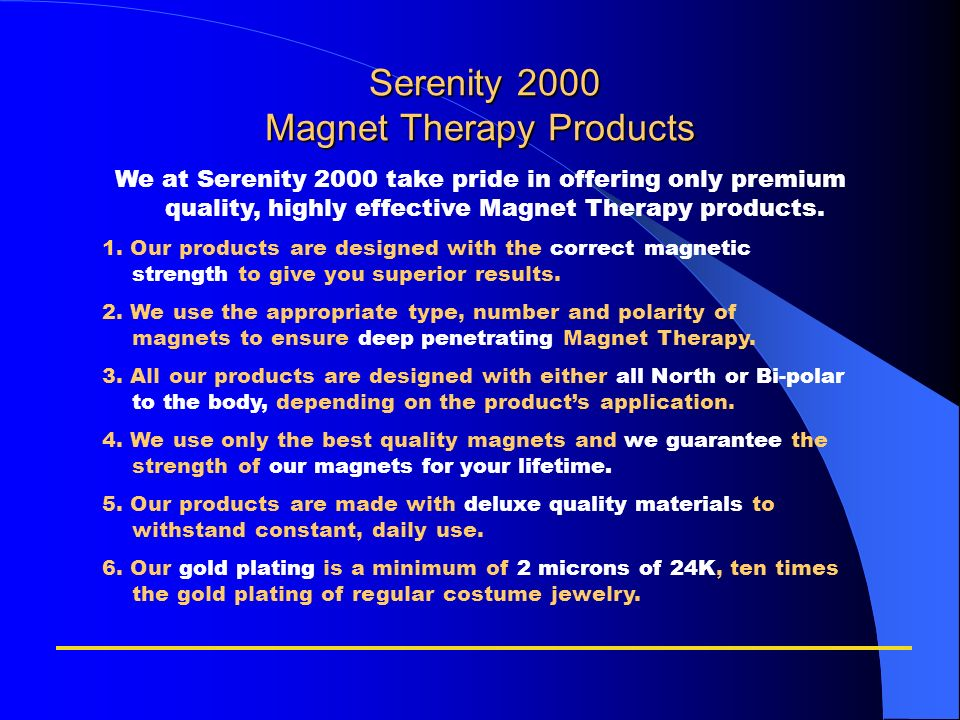 Serenity 2000 Magnet Therapy Products
