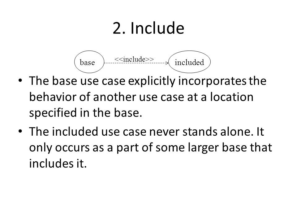 2. Include The base use case explicitly incorporates the behavior of another use case at a location specified in the base.