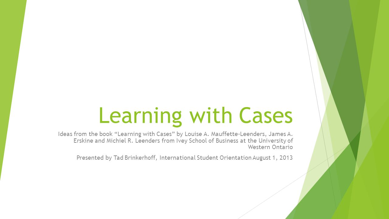 Learning with Cases