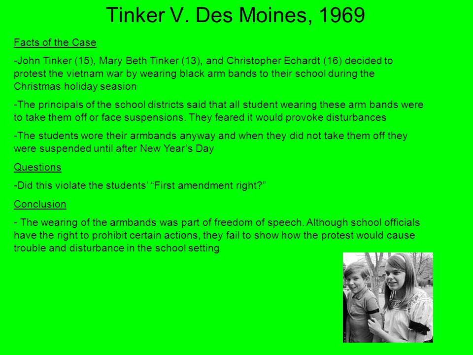 Tinker V. Des Moines, 1969 Facts of the Case