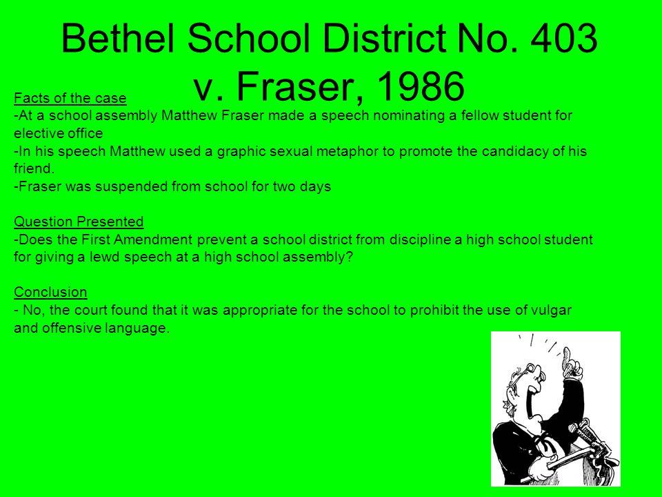 Bethel School District No. 403 v. Fraser, 1986