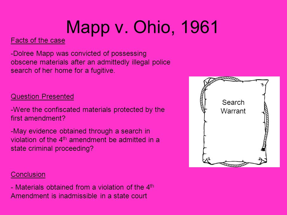 Mapp v. Ohio, 1961 Facts of the case