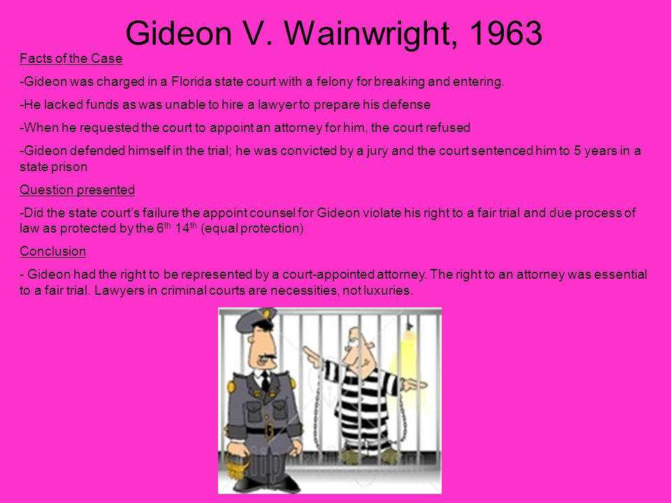 Gideon V. Wainwright, 1963 Facts of the Case