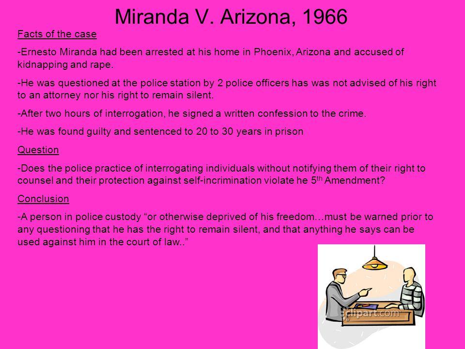 Miranda V. Arizona, 1966 Facts of the case