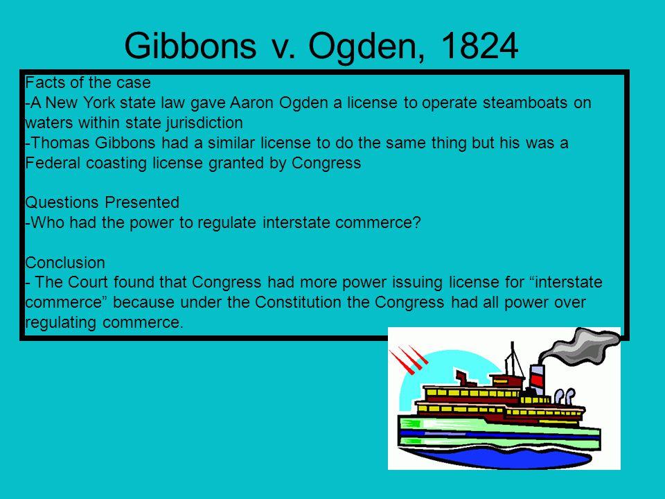 Gibbons v. Ogden, 1824 Facts of the case