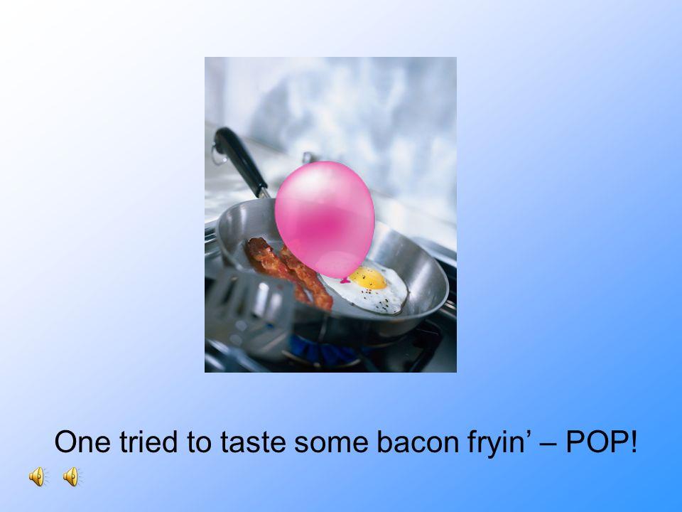 One tried to taste some bacon fryin' – POP!