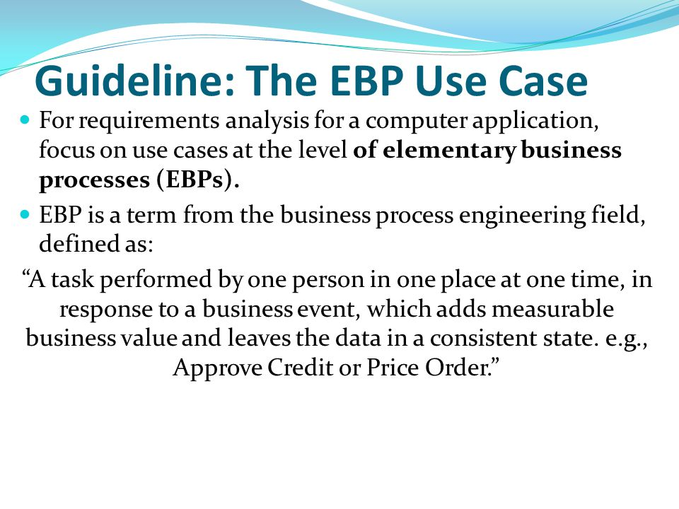 Guideline: The EBP Use Case