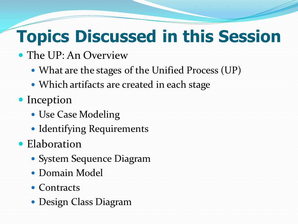 Topics Discussed in this Session