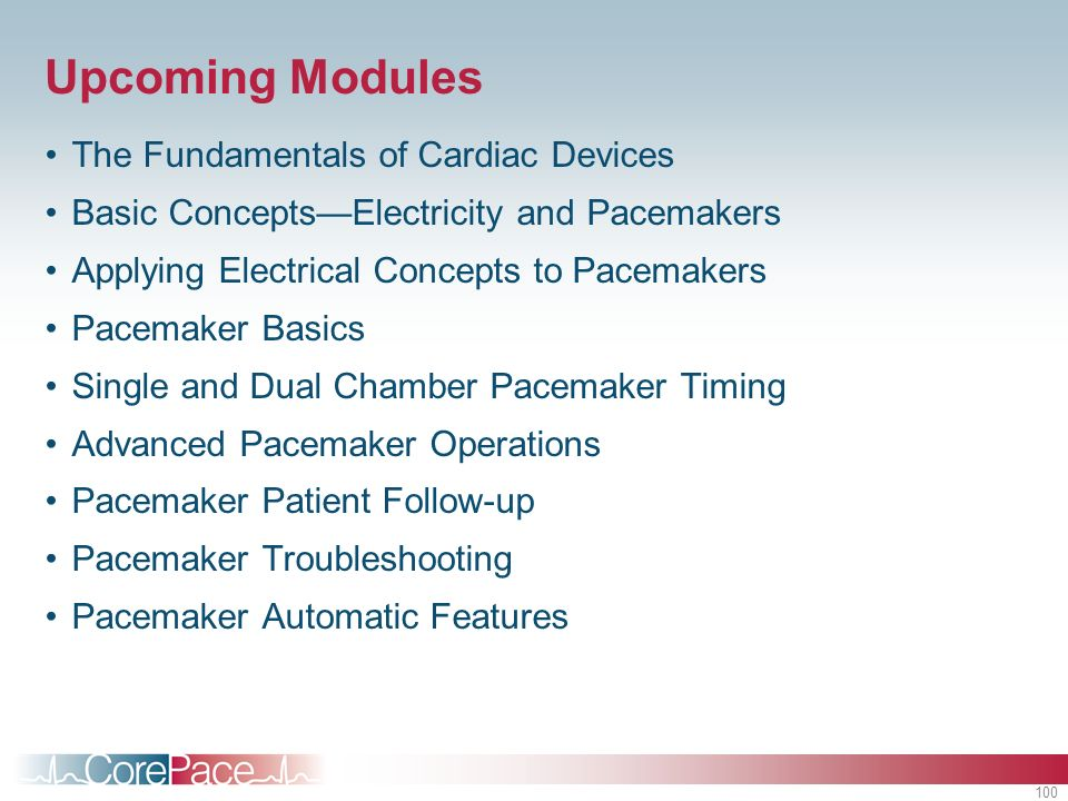 Upcoming Modules The Fundamentals of Cardiac Devices