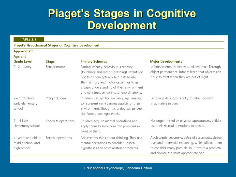 Piaget's Stages in Cognitive Development