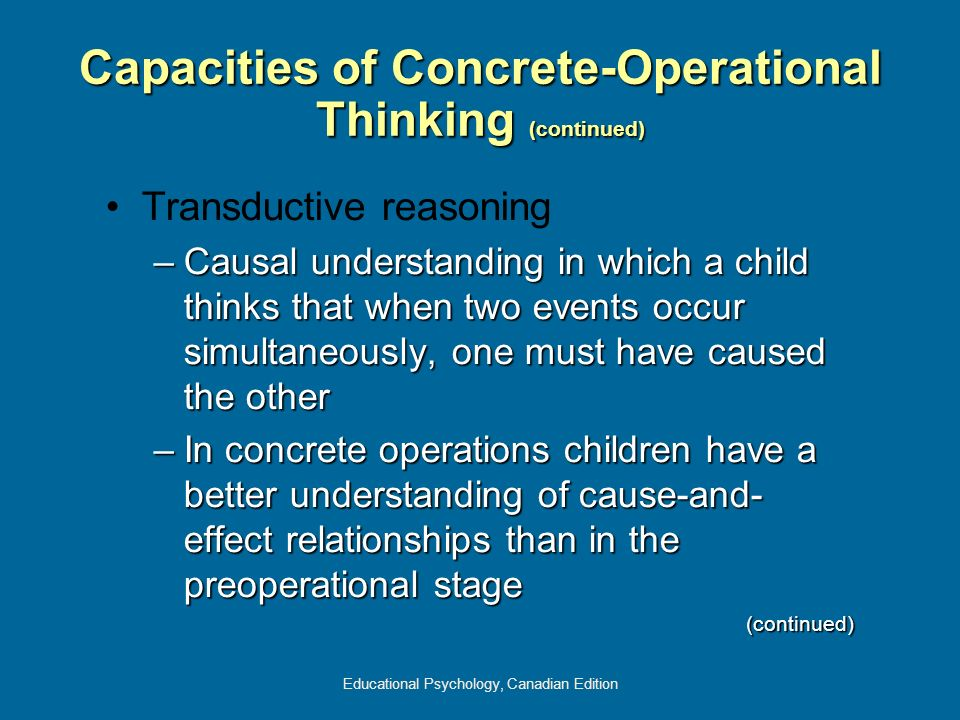 Capacities of Concrete-Operational Thinking (continued)