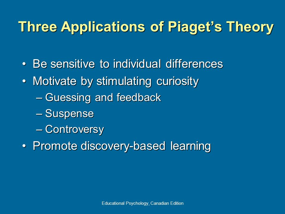 Three Applications of Piaget's Theory