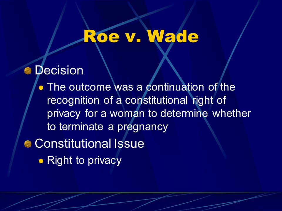 Roe v. Wade Decision Constitutional Issue